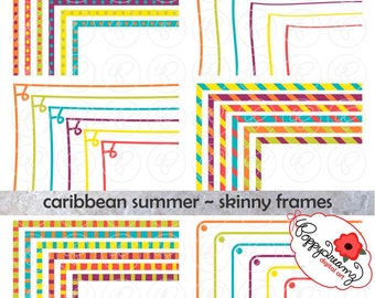 Caribbean Summer Skinny Frames Mega Pack: Clip Art Pack Card Making Digital Frames Page Borders