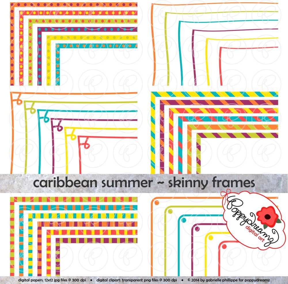 Caribbean Summer Skinny Frames Mega Pack: Clip Art Pack Card