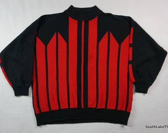 Vintage 50s/60s Helen Harper Red & Black Sweater Women's Extra Large, XL, Acrylic, Vintage Sweater