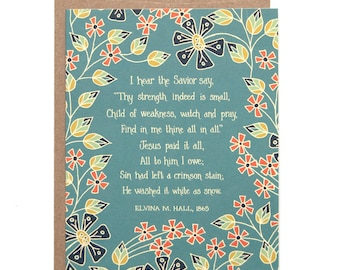 Jesus Paid it All Hymn Greeting Card gift for women gift for mom floral stationery art print birthday card thank you card inspirational