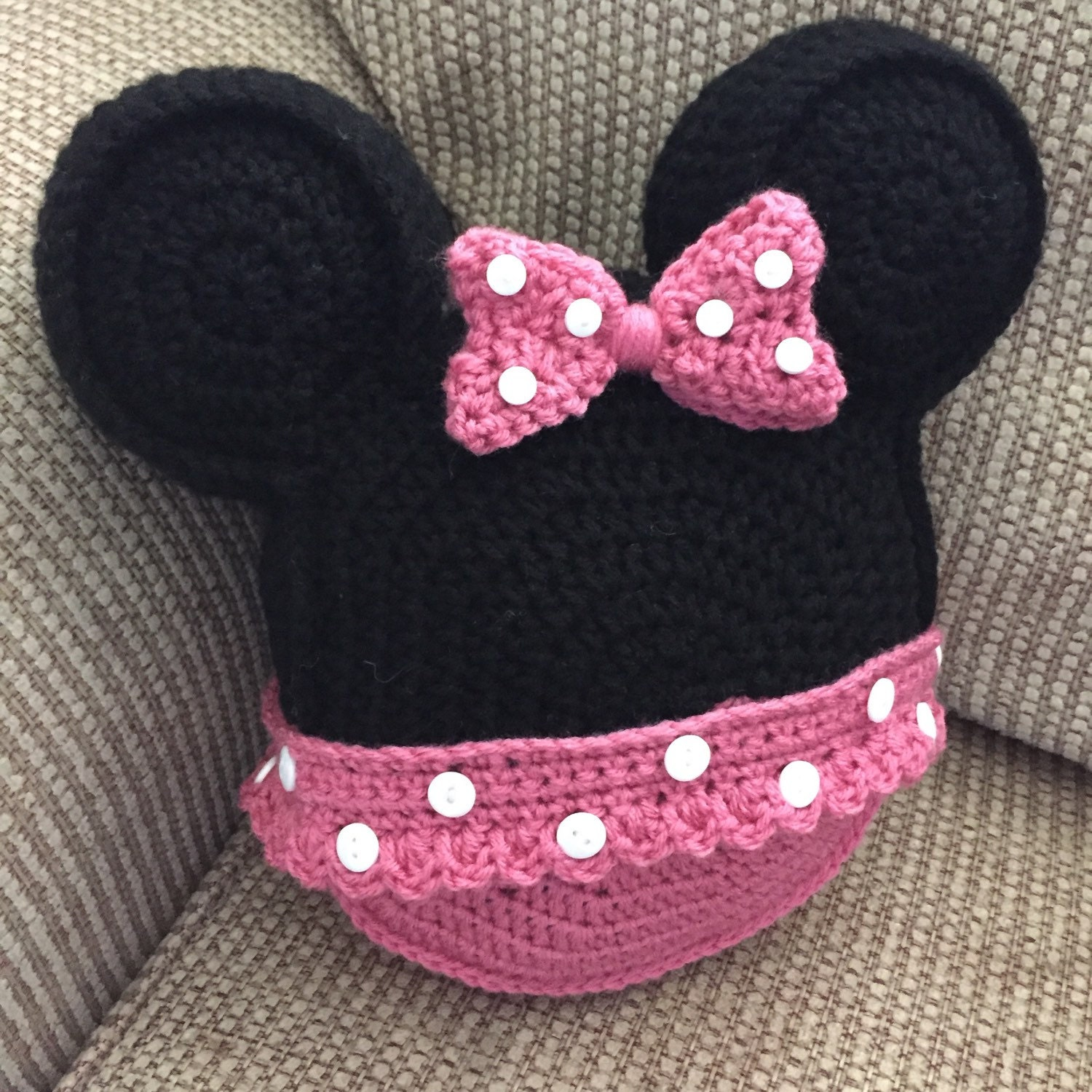 Made to order Crochet pillow Minnie Mouse inspired icon mouse