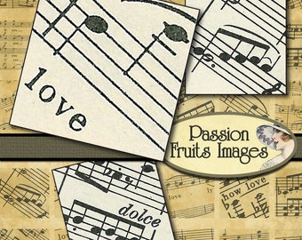 Love Notes 1 inch squares- Digital Collage Sheet from vintage sheet music--Instant Download
