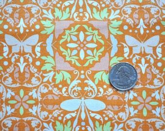 Garden of Delights Wonderous Wings in orange - sold by the yard