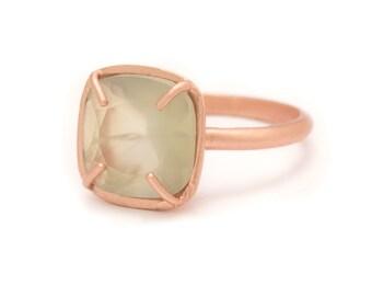 Prehnite in Rose Gold Gemstone Ring - Rose Gold Ring - Square Cushion Cut  - Gemstone Ring - Sizes  5, 6, 7, 8, 9