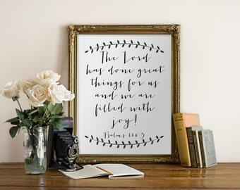 PRINTABLE Art «Seigneur a fait de grandes choses pour nous,» l'écriture de la typographie Art Print imprimer Bible verset impression Bible verset Art écriture Art