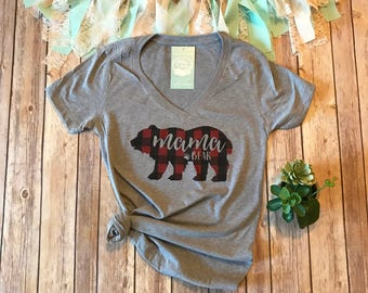 Plaid Mama Bear Shirt, Buffalo Plaid Shirt, Mom T Shirt, Womens Graphic Tee, Graphic Tees for Women, Baby Shower Gift for Mom, Mama Shirt