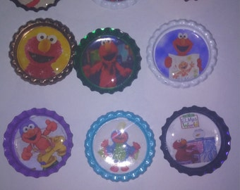 Sesame Street Elmo themed bottle cap magnets or cupcake toppers