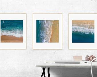 Set of 3 Prints, Sea Print, Ocean Print, A4 Print, Adventure Print, Digital Download, Blue Ocean, Ocean Wall Print, Sea Digital Print