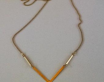 Necklace Point Arrow Link Raw Brass