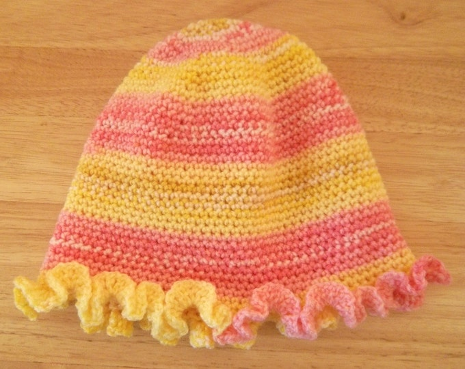Hat - Crochet Ruffle Hat for Girls - Selfstriping Colors of Yellow and Pink
