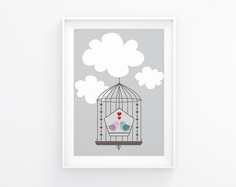 Gender neutral Nursery art - Love Birds - Nursery Printable - Nursery wall art  - Nursery bird - Digital download - 8x10