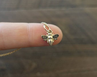 14k Solid Gold Bee Necklace - Nature & Gardener Gift Idea. Bee, Insect Jewelry. Will you BEE Mine?