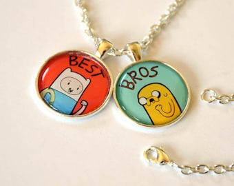 Adventure Time Finn and Jake / Fionna and Cake Friendship Necklace w/ two chains for best friends best bros and best chums