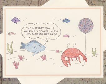 Birthday Card For Him, Funny Card For Him, Male Birthday, Funny Birthday Card, Crab Card, Happy Birthday Card, Ocean Birthday Card