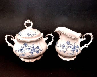 Vintage Edelstein 'Ocean Blue' Creamer and Sugar Bavaria Germany China Maria Theresia Mold, Signed and Numbered