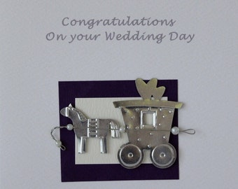 Wedding Card congratulations card happy wedding day horse and carriage celebrate wedding day personalised card