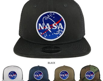 NASA Space Meatball Patch Snapback Trucker Cap (NE403-MEATBALL)