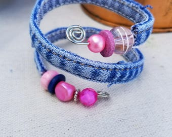 Small Recycled Denim Bracelet Made From Blue Jeans Inseam with Wire Inserted to Stiffen featuring Pink Beads