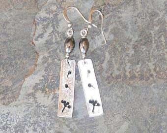 Spring Flower Earrings, Silver Earrings, Hematite Earrings, Stone Earrings, Rectangle Earrings, Dangly Earrings, Handmade Earring, Dandelion