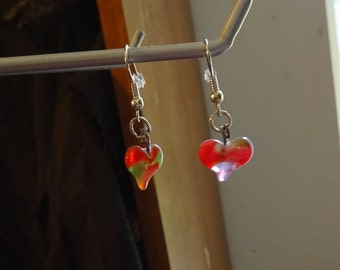 Red and Green Glass Heart Earrings (E45)