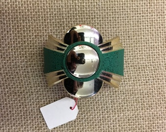 Vintage satin green ponytail holder barrette  clip made in France