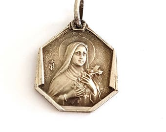 vintage silver plated St Therese of Lisieux medal, Christian pendant, religious jewelry