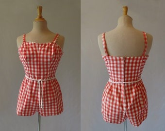 Coral Gingham Romper, Play Suit - 1950s