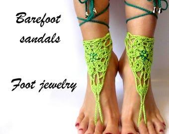 Barefoot sandals Green Barefoot footless sandals Bridal barefoot Beach footless Crochet barefoot Beach sandals Foot jewelry Crochet footless
