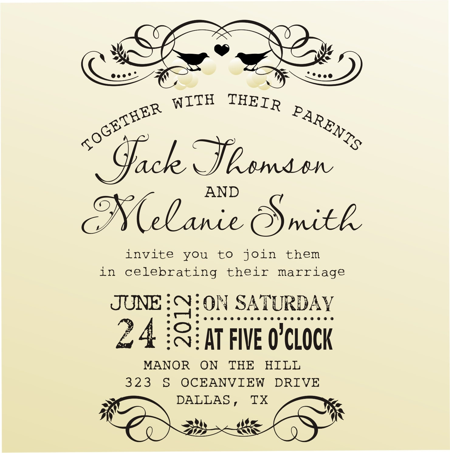 DIY Wedding invitation vintage design typewriter font rubber