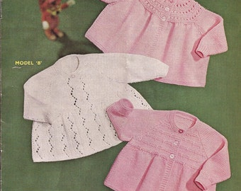 """PDF Knitting Pattern Baby Matinee Coats and Jackets to fit size 20"""" (X46)"""