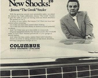 1972 Advertisement Jimmy The Greek Snyder Columbus Shock Absorbers Levelizers Oddsmaker Las Vegas 70's Automotive Shop Garage Wall Art Decor