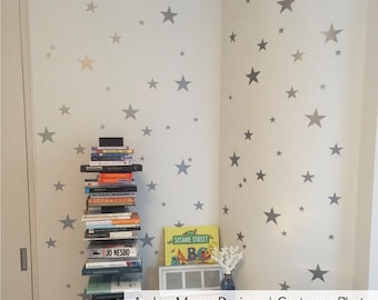 Silver Star Wall Decals - Confetti Star Decals Set of 110 - Silver or Gold Stars