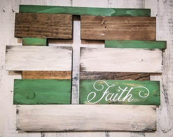 MULT. COLOR OPTIONS! Personalize! Cross Wall Art Decor, Faith, Rustic, Distressed, Customizable, Custom Wooden