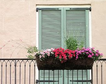 "New Orleans Wall Art. ""Come to my Window"" Fine Art Photograph. French Quarter Balcony, Window Home Decor. Mardi Gras Wall Art."