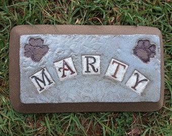 Custom - Pottery Garden Stone or Burial Grave Marker - Stoneware Clay - For Pet Memorial -  Beveled Rectangle Plaque - PAWS