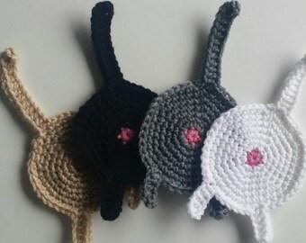 Crochet CAT Butt Coasters (Set of 4)