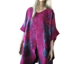 Erica pink Fuchsia Nuno Felt and silk Poncho ,Kimono,ruana ,wrap- Amazing opera top in my beloved Kimono style-Only one available