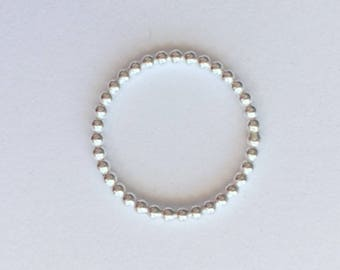 Sterling Silver Ball Ring - Sterling Silver Bead Ring - Silver Stacking Ring