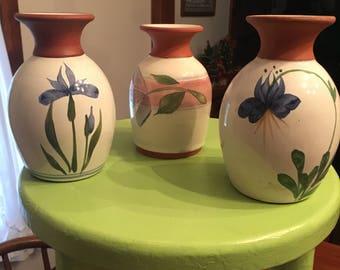 Three Emerson Creek Pottery Bud Vases