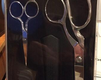 """Gingher Scissors Gift Set - 8"""" Dressmaker's Shears - 4"""" Embroidery Scissors"""