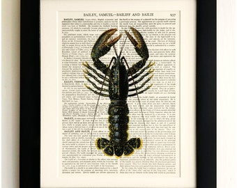 FRAMED ART PRINT on old antique book page - Black Lobster, Vintage Wall Art Print Encyclopaedia Dictionary Page