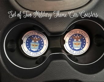 SET OF TWO Military Car Coasters Car Accessories Air Force Navy Army Marines