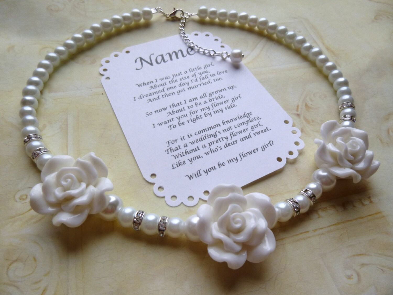 Pearl Flower Girl Necklace Flower Girl Gift Pearl Flower