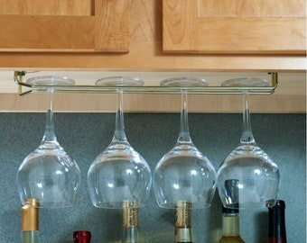 "Steel Wine Glass Holder - 16"" Wine Glass Rack - Stemware Holder -Under Cabinet - Under Shelf"
