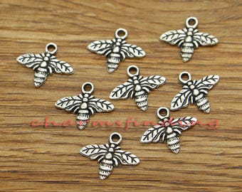 50pcs Bee Charms Honeybee Charms Insect Charms tique Silver Tone 16x13mm cf3414