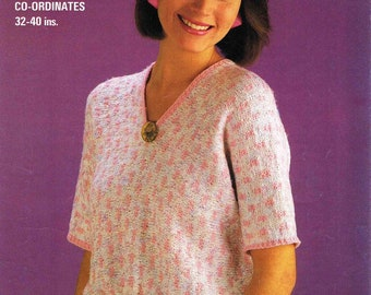 Lady's V Neck Sweater Pullover Jumper with Short Sleeves Size 81 - 102 cm 32 - 40 inch Studley Cotton Dolly DK 1262 Vintage Knitting Pattern