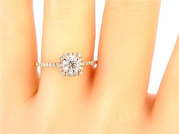K rose gold round diamond halo engagement ring wedding ring
