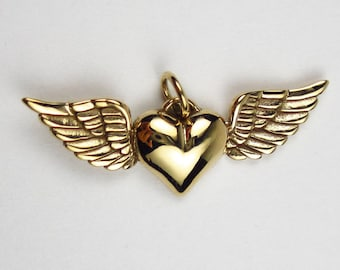 Natural Bronze Heart with Wings Charm
