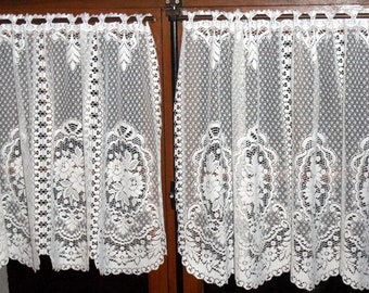French vintage white lacey curtains or cafe curtains