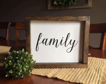 Framed family sign